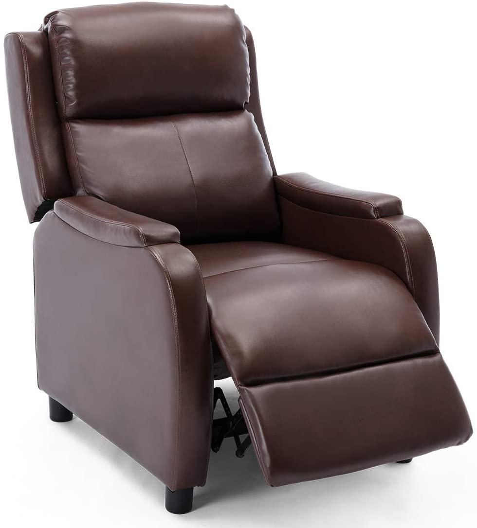 CHURWELL BONDED LEATHER PUSHBACK LEATHER RECLINER CHAIR ...
